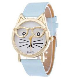 【ネコミミ メガネがキュートなガールズキャットウォッチ】 ★ネコガオ女子の腕時計★ガールズ腕時計★かわいい腕時計★誕生日★猫 時計 腕時計 女の子 レディース ウォッチ 子供 子供腕時計