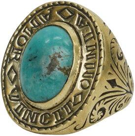 LHN Jewelry(エルエイチエヌ ジュエリー) ハンドメイド Amor Signet リング ブラス x ターコイズ 米国製 メンズ ring 【あす楽】
