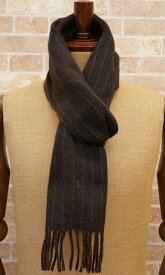 (ラルフローレン) Ralph Lauren ピンストライプ ド ダブルフェイス ド スカーフ イタリア製 マフラー ダークブラウン pinstriped double-faced scarf 【あす楽】