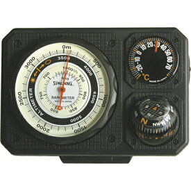 トラベルエイド3型 6in1 温度計、ミニライト、オイルコンパス、非常用ミラー付き高度計 No.1230