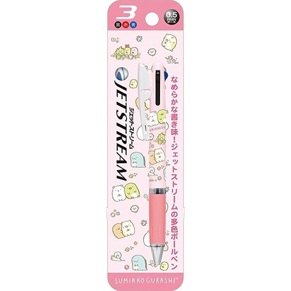 【メール便対象】すみっコぐらし キャラクター ジェットストリーム 油性 3色ボールペン 0.5mm ピンク