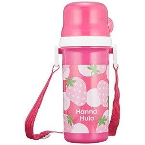 キッズ コップ付直飲みプラボトル いちご Hanna Hula ハンナフラ 水筒 日本製 食洗機OK 子供 - メール便不可