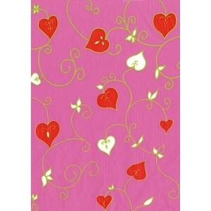 【メール便対象】【デコパッチ】デコパッチペーパー ハート草柄 ピンク dp-fd489