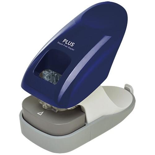 針なしホッチキス プラス ペーパークリンチ 卓上型12枚綴じ ブルー SL-112A【メール便不可】