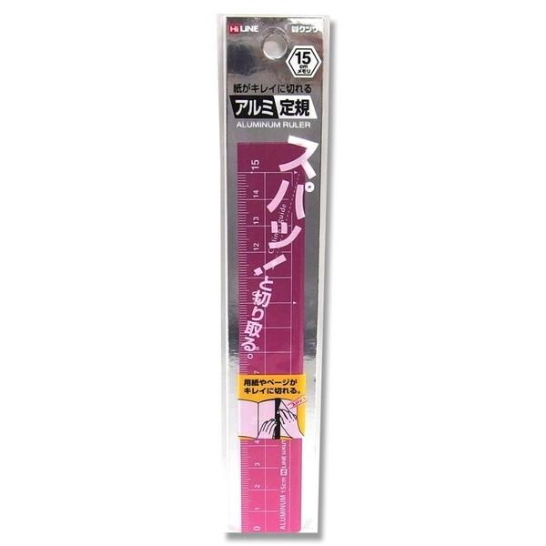 【メール便対象】クツワ 紙がキレイに切れるアルミ定規(15cm) ピンク XS15PK-300