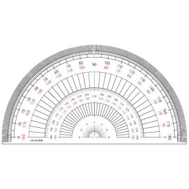 【メール便対象】内田洋行 半円分度器 18cm 1-822-0104