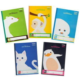 キョクトウ 学習帳 カレッジアニマル 5mm方眼 B5 5冊束 クールカラーセット LT0105BT - メール便対象