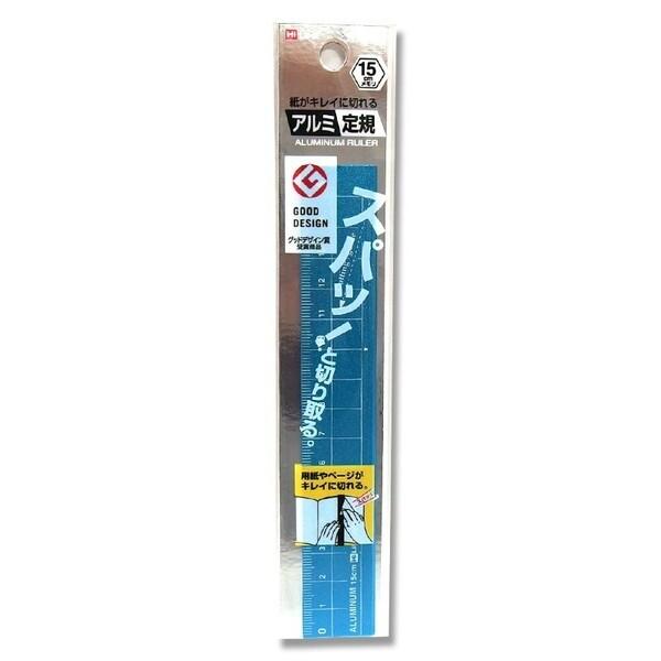 【メール便対象】クツワ 紙がキレイに切れるアルミ定規(15cm) ブルー XS15BL-300