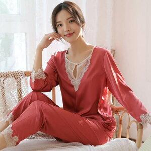 パジャマ レディース 春夏 長袖 ルームウェア 寝巻き 2点セット シルクパジャマ 薄手 レース ロングパンツ 寝間着 部屋着 体型カバー 韓国風 可愛い