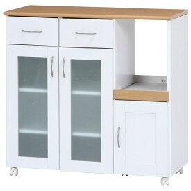 不二貿易 キッチンカウンター サージュ 幅90cm ホワイト ナチュラル 96819