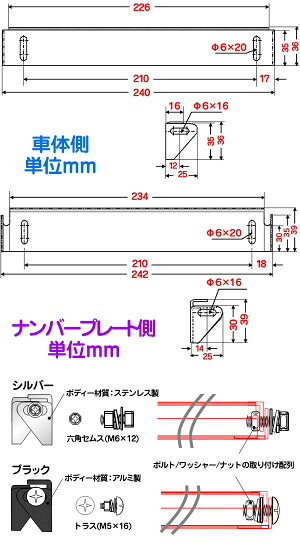 ナンバーステープレート角度高さ調整ライセンスアングルー上から見ても隙間ができないポジションXP-304crd2018Nov