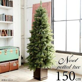 9月下旬入荷予約 ポットツリー クリスマスツリー 150cm 樅 高級 (オーナメントなし)【ノエル】おしゃれ ヌード 北欧 足元スカート ツリースカート 足隠し 飾り スリム ornament Xmas tree
