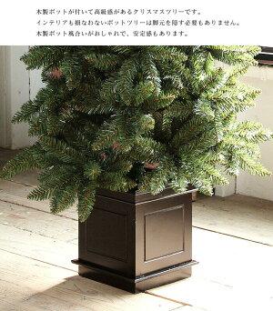 ポットツリークリスマスツリー150cmクラシックタイプ高級クリスマスツリー木製オーナメント、LEDイルミネーション付