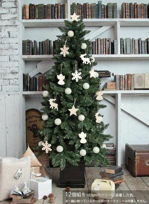 クリスマスツリーオーナメントセットchristmastree飾り木製トナカイ天使星雪結晶(スノー)【計12個】飾り北欧ミニcrd