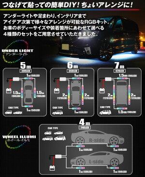 総延長5m300連フルカラーRGBテープLEDアンダーライトキットアンダーネオン管リモコンでお好みのカラーフラッシュ・オーロラ変化等|ledテープ防水ledテープライト赤車白ホワイト青ピンクダイコン卸LEDアンダーライト