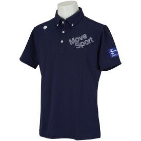 デサントゴルフ DESCENTE GOLF BLUE LABEL ドライキューブロゴ刺繍半袖ポロシャツ メンズ ゴルフウェア 春 夏