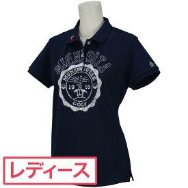 マンシングウェア Munsingwear SUNSCREEN鹿の子カレッジプリント半袖ポロシャツ レディス
