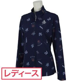 マンシングウェア Munsingwear SUNSCREEN飛びプリント長袖ジップアップシャツ ゴルフウェア レディース 春 夏 2021年春夏モデル レディス