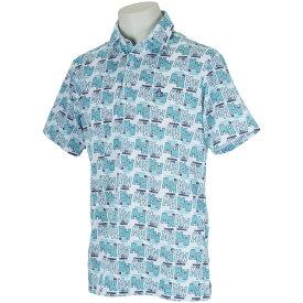 マンシングウェア Munsingwear 総柄ロゴプリント半袖ポロシャツ メンズ ゴルフウェア 春 夏