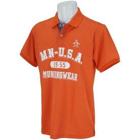 マンシングウェア Munsingwear ストレッチフロントプリント半袖ポロシャツ メンズ ゴルフウェア 春 夏