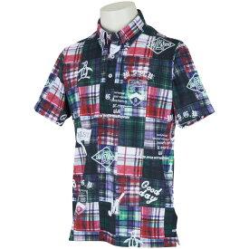 マンシングウェア Munsingwear ストレッチクレイジーチェックプリント半袖ポロシャツ