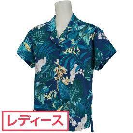 マンシングウェア Munsingwear Wニット鹿の子ボタニカルプリント半袖シャツ レディス