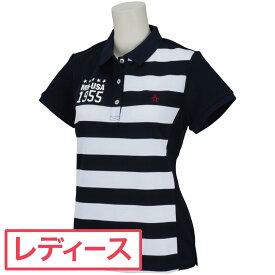 マンシングウェア Munsingwear ボーダー切り替え半袖ポロシャツ ゴルフウェア レディース 春 夏 レディス