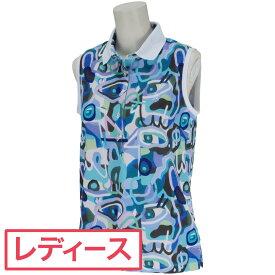 マンシングウェア Munsingwear レダニアコラボストレッチアートプリントノースリーブポロシャツ レディス