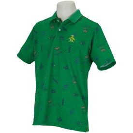 マンシングウェア Munsingwear SUNSCREEN ロゴモチーフプリント半袖ポロシャツ メンズ ゴルフウェア 春 夏