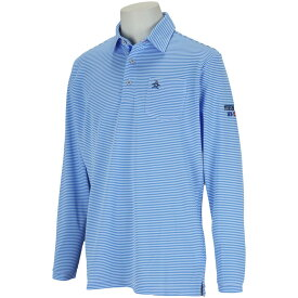 マンシングウェア Munsingwear SUNSCREEN細線ボーダー長袖ポロシャツ メンズ ゴルフウェア 春 夏