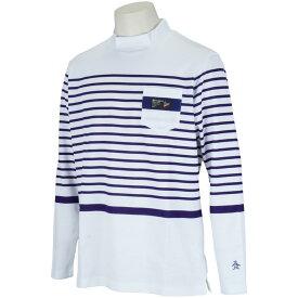 マンシングウェア Munsingwear スラブヤーンWニットボーダーモックネック長袖シャツ メンズ ゴルフウェア 春 夏