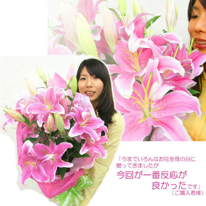 母の日 ギフト プレゼント 早割り 花 花束 花束 BIG!PINKユリの花束 2019 ゆり 百合 生花 ピンク 珍しい