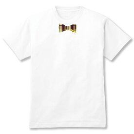 【数量限定セール】蝶ネクタイTシャツ 【タータンチェック柄だまし絵Tシャツ】WHT