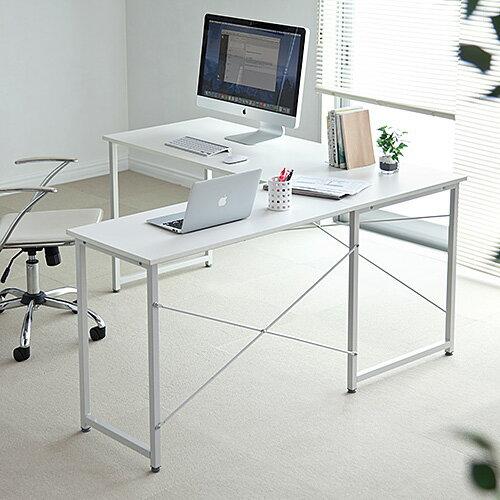 【アウトレット】 パソコンデスク(L字型・幅150cm+90cm・コーナーデスク・ホワイト) 100-DESKH011W