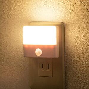 [ポイント5倍〜4/16まで]LEDセンサーライト 人感センサー AC電源 屋内用 薄型 小型 ナイトライト 800-LED026 サンワサプライ