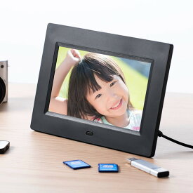 デジタルフォトフレーム 7インチ 1024×600画素 SD/USB 写真/動画/音楽 リモコン付き ブラック 400-MEDI030BK サンワサプライ