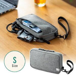 トラベルポーチ モバイルバッテリー ガジェット Wi-Fiルーター iPhone ケーブル収納 ポケットストラップ付 旅行 Sサイズ グレー 200-BAGIN012GY サンワサプライ