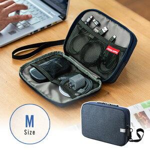 トラベルポーチ モバイルバッテリー ガジェット Wi-Fiルーター パスポート iPhone ケーブル収納 ポケット ストラップ付 旅行 Mサイズ ネイビー 200-BAGIN013NV サンワサプライ