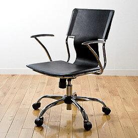 【新品・正規品】レザーチェア スタイリッシュ オフィス ホーム デザイナー ロッキング ブラック EEZ-SNC018BK サンワサプライ