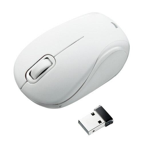 【訳あり 新品】ワイヤレスブルーLEDマウス(超小型・ホワイト・静音タイプ) MA-WBL36W サンワサプライ ※箱にキズ、汚れあり