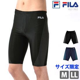 FILA(フィラ) フィットネス水着 メンズ 男性用 ひざ丈 スイムボトム 運動着 すっきりフィット スパッツ型 体型カバー 紳士 サーフパンツ スイミング スイムウェア スクール水着 ブラックライム/黒 427902 M/L/LL ゆうパケット送料無料