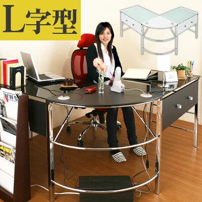 コーナーデスク パソコンデスク ガラス ガラス製 パソコンラック L字型 収納 コーナー ガラスデスク オフィスデスク PCデスク 大型デスク パソコン机 l型デスク おしゃれ l字型 ハイタイプ キーボード スライド 白 ホワイト l字 l型 l