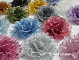 【あす楽】【同梱可能】大ぶりローズが美しい薔薇コサージュ ラメコサージュ 白・黒・赤・ピンクなど色とりどりの15色 結婚式 二次会 卒業式 入学式 フォーマル ウェディング ブライダル お呼ばれ・パーティー 4-1〜16
