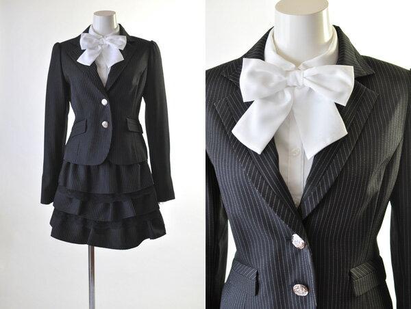 人気商品再入荷!140cm/150cm/160cm/170cm 子供スーツ/子供フォーマルスーツ 黒ストライプ・リボン付4点 受験・発表会・卒業式・結婚式・卒業式スーツ 入学式スーツ AKB48 なんちゃって制服 1253004/1252005