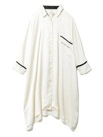 サテンラインシャツドレス gelato pique ジェラートピケ インナー/ナイトウェア ルームウェア/その他 ホワイト【送料無料】[Rakuten Fashion]