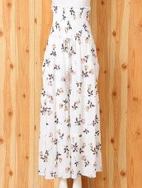 [Rakuten Fashion]ヴィンテージローズ柄ギャザーオールインワン gelato pique ジェラートピケ インナー/ナイトウェア ルームウェア/その他 ホワイト ピンク【送料無料】