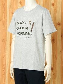 [Rakuten Fashion][HOMME]ワンポイントTシャツ gelato pique ジェラートピケ カットソー Tシャツ グレー ホワイト【送料無料】