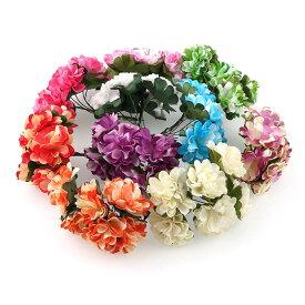 1束6輪 造花 牡丹 花のみ ダブルカラー 選べる10色 約3cm 華冠に 花束 結婚式 お祭 披露宴 出演 手芸材