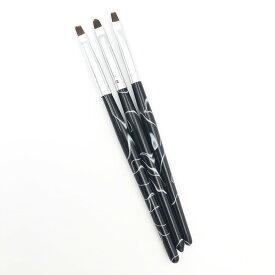 ネイルブラシ 黒色 3本セットネイル アート用品 [ネイル パーツ] スターターキット ネイルシール ジェルネイル デコパーツ カラージェル