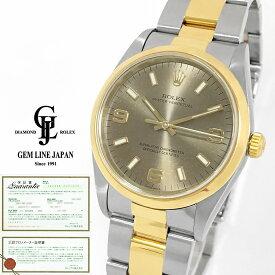 【中古】ギャラ付 ロレックス オイスターパーペチュアル 14203 K番 グレー アラビア YG/SS メンズ 自動巻き 腕時計
